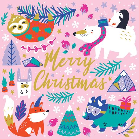 Merry Christmas. Whimsical forest with winter animals. Ideal for holiday greeting 向量圖像