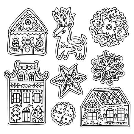 Christmas gingerbread set in outline. Deer, snowflakes and houses cookies in vector