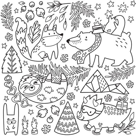 Vector whimsical animal collection in outline. Black and white polar bear, penguin, fox, sloth, dinosaur and other