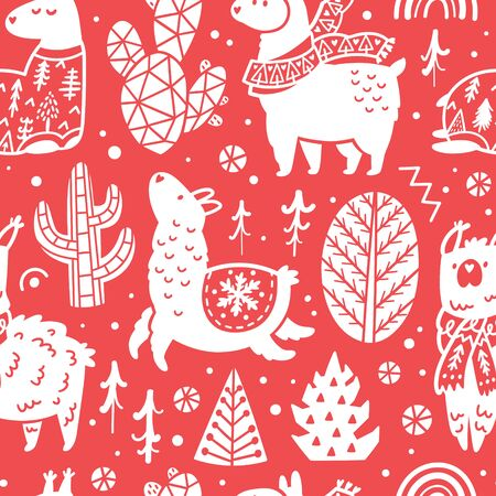 Red Christmas holidays seamless pattern with cute llamas and cactuses