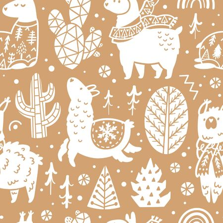 Christmas llamas seamless pattern in decorative style. Vector illustration