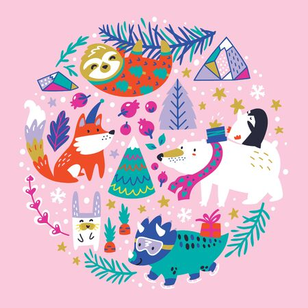 Childish illustration with winter animals, mountains, trees and snowflakes in the circle