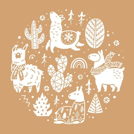 Vector illustration with cute llamas, alpacas, cactuses and trees in the circle 向量圖像