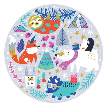 Christmas animals, mountains, trees and snowflakes in the circle