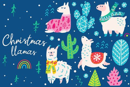 Christmas set with llamas wearing in sweater, hat and scarf 向量圖像