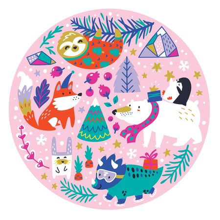 Christmas animals wear winter hat, sweater and scarf in the circle.