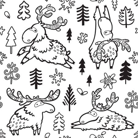 Seamless childish pattern with cute deers, moose, elk in contour 向量圖像