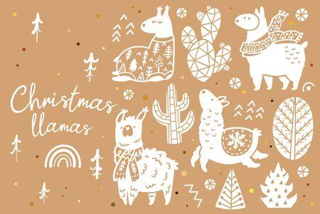 Cute llamas, alpacas, cactuses and trees decorative elements 向量圖像