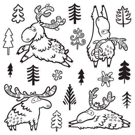 Childish illustration with deer, moose, elk in doodle style