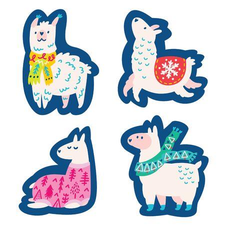 Christmas llamas, alpacas characters stickers.