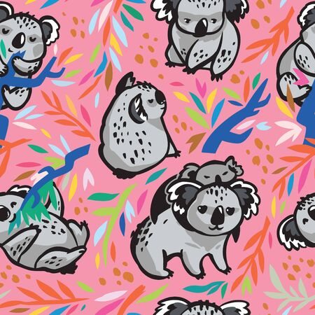 Vector seamless pattern with cute koala bears in the eucalyptus. 向量圖像