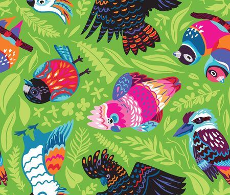 Decorative Australian birds seamless pattern in vector