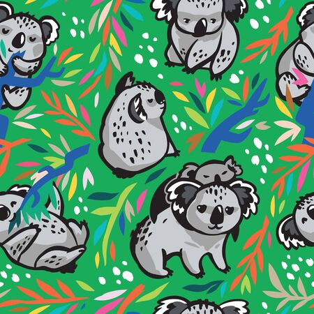 Seamless pattern with cute koalas in the eucalyptus forest