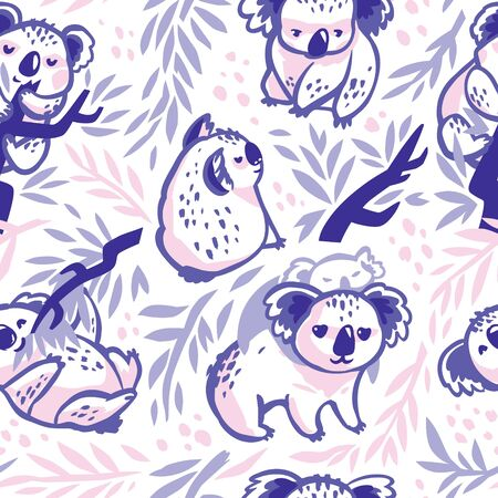 Seamless pattern with hand drawn koalas in the eucalyptus forest