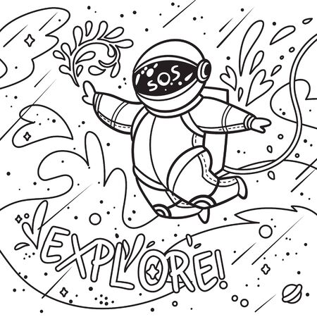 Explore. Contour print with cartoon astronaut flies with leaves in outer space