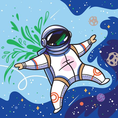Cute cartoon astronaut flies with green leaves in outer space 向量圖像