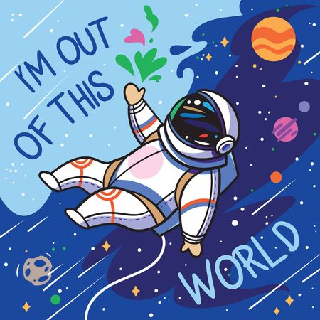 Im out of this world. Cute cartoon astronaut flies with green leaves in outer space