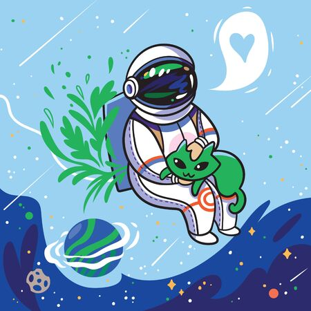Cute cartoon astronaut stroking a green alien cat in outer space