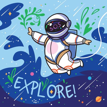 Explore. Cute cartoon astronaut flies with green leaves in outer space