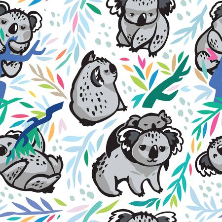 Vector seamless pattern with cute koalas in the eucalyptus forest