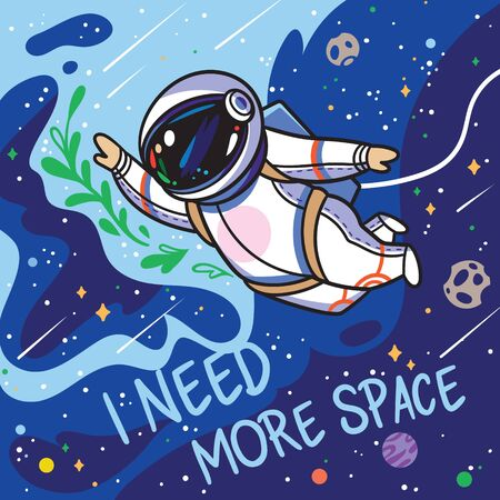 I need more space. Cute cartoon astronaut flies with green leaves in outer space 向量圖像