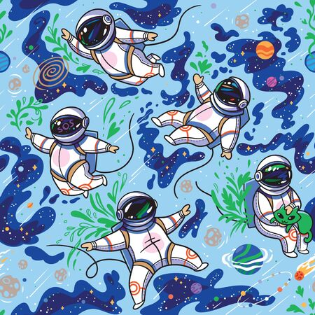 Astronauts in space seamless pattern 向量圖像