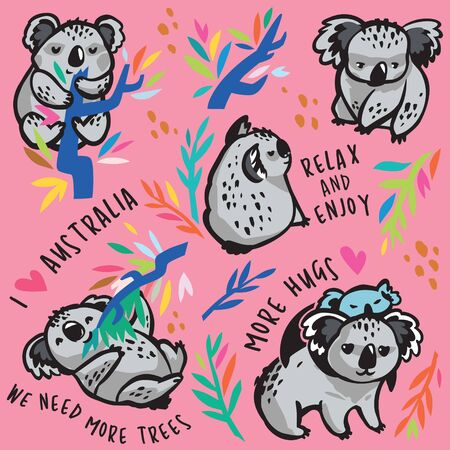 Set of cute koala characters with text. Vector Illustration 向量圖像