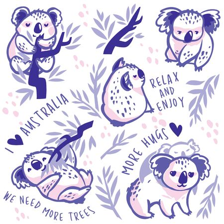 Cute koala characters with text. Vector Illustration