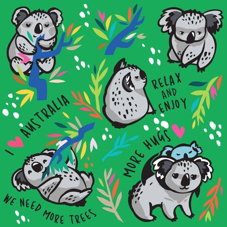 Print of cute koala characters. Vector Illustration
