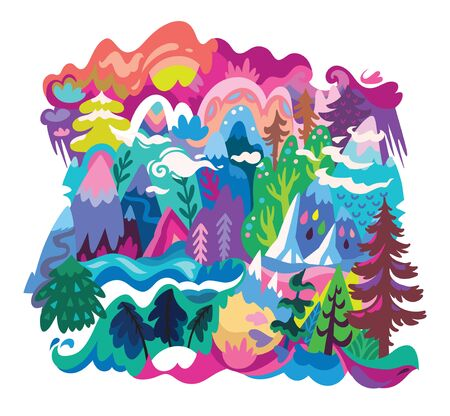 Cartoon nature landscape print in vector. Abstract illustration