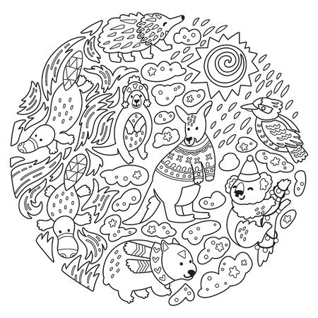 Doodle Christmas Australian animals in the circle. Vector illustration