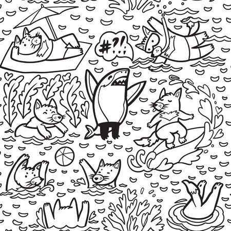 Coloring pattern with cute Tasmanian devil characters in the water