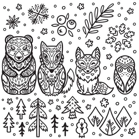 Forest animals nesting dolls for colouring. Matryoshka dolls in outline. Vector illustration