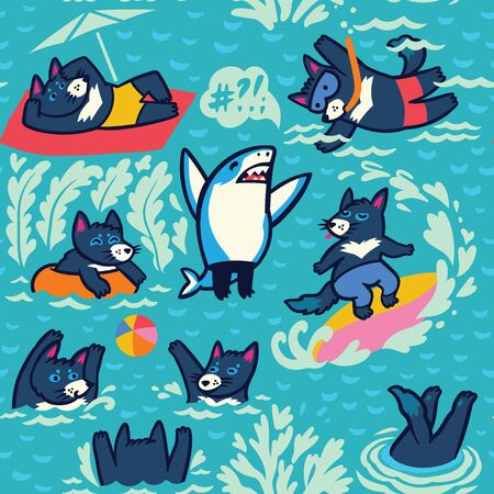 Tasmanian devils swim, sunbathe, dive, play ball and surf. Vector background