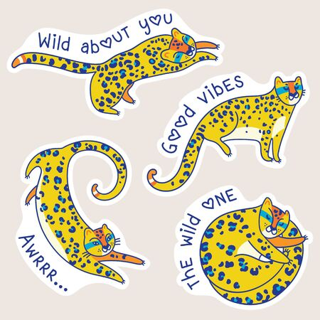 Yellow jaguars characters with text. Vector stickers