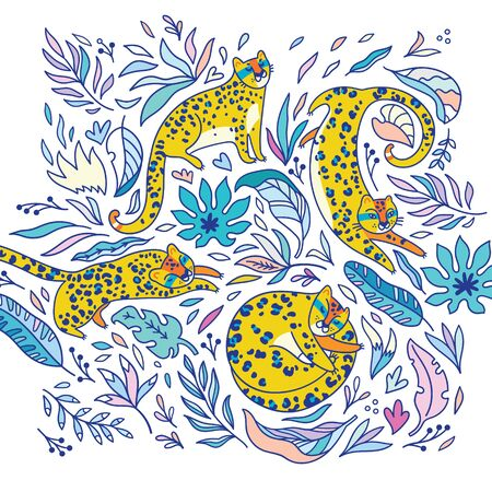 Decorative print with yellow leopards. Vector illustration 向量圖像