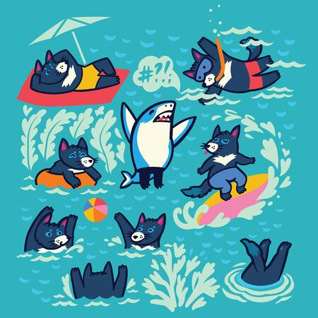 Collection of Tasmanian devil characters in the water