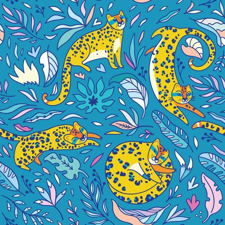 Seamless pattern with yellow leopards. Vector illustration