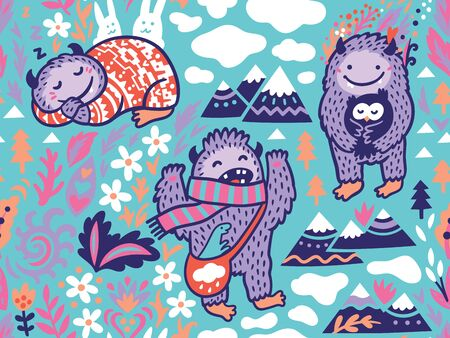 Funny Bigfoots characters in the nature, vector background