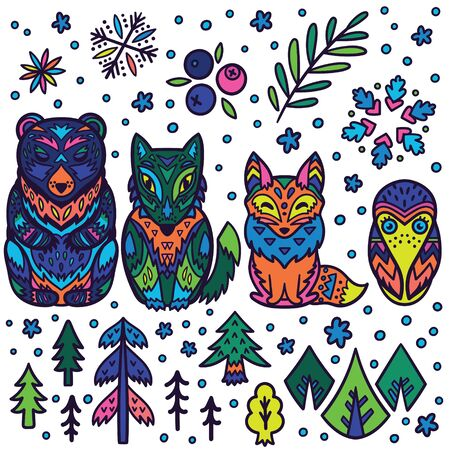 Forest animals nesting dolls. Matryoshka dolls. Vector illustration 向量圖像