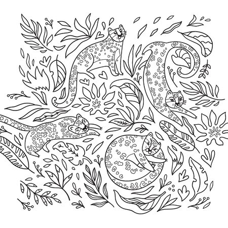 Black and white print with leopards in the jungle. Vector illustration