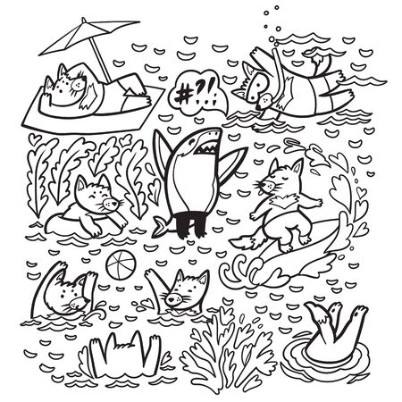 Coloring print with cute Tasmanian devil characters in the water