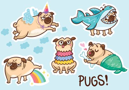 Funny pug characters sticker set. Unicorn, shark, mermaid and llama pugs. Perfect for fashion patches, pins, stickers, badges, temporary tattoos and other