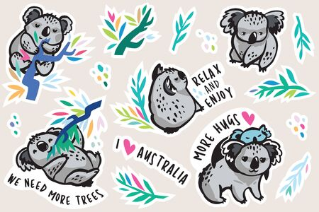 Australian koala animal sticker set, decorative style. Perfect for fashion patches, pins, stickers, badges, temporary tattoos and other