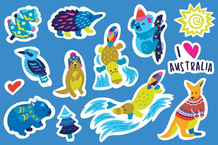 Christmas Australian animal sticker set, decorative style. Kangaroo, wombat, koala, platypus and other. Perfect for fashion patches, pins, stickers, badges, temporary tattoos and other 向量圖像