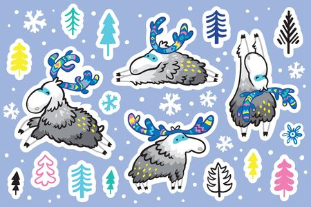 Winter deer with decorative horns sticker set, cartoon style. Perfect for fashion patches, pins, stickers, badges, temporary tattoos and other