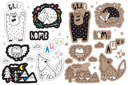 Sticker set with forest animals and design elements, cartoon simple geometric style. Perfect for fashion patches, pins, stickers, badges, temporary tattoos and other