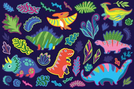 Decorative dinosaur and fern sticker set, cartoon style. Perfect for fashion patches, pins, stickers, badges, temporary tattoos and other