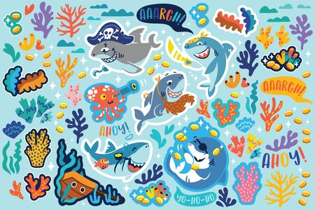 Shark pirates, treasures and corals sticker set. Vector illustration