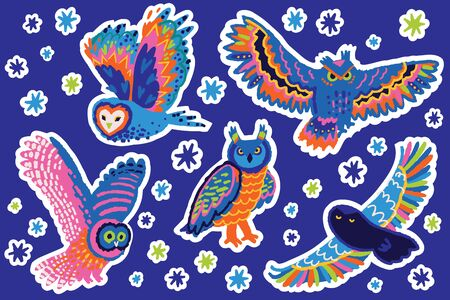 Bright decorative owls sticker set. Perfect for fashion patches, pins, stickers, badges, temporary tattoos and other